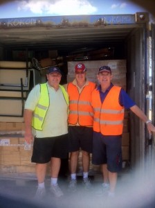 Simmo, Geachy and John Lipman at Donations in Kind